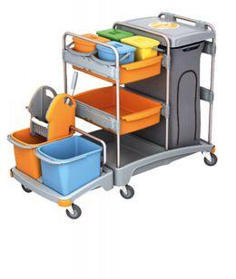 Splast Putzwagen mit Beutelhalter, Moppresse und Eimern, Regal und 4 kleinen Eimern