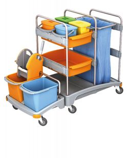 Splast trolley with wringer, buckets, shelf and waste bag holder with optional cover – Bild 1