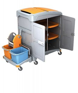 Splast mobile plastic wet cleaning system with shelf, wringer and buckets