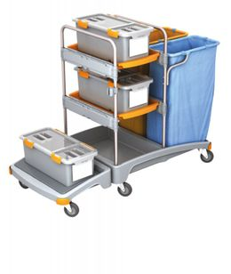 Splast plastic cleaning trolley with 2 waste bag holders, 3 mop boxes and 2 trays