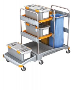 Splast plastic cleaning trolley with 2x 70l bag holders, 3 mop boxes and shelf