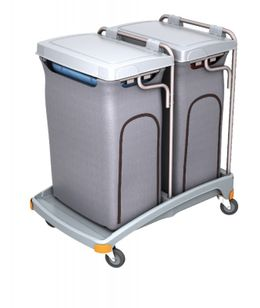 Splast double plastic waste trolley 2 x 120l with covering - lid is optional – Bild 2