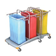 Splast triple plastic waste disposal trolley 3 x 120l - lid is optional – Bild 1