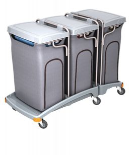 Splast triple waste disposal trolley 3 x 120l with covering - lid is optional – Bild 2