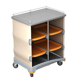 Splast plastic hotel service trolley with shelf with 4 trays + self-adhesive velcro
