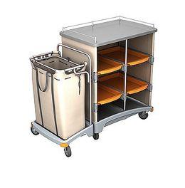 Splast Hotelwagen mit Regal und Ablageplatte inklusive Leinensack 120 Liter