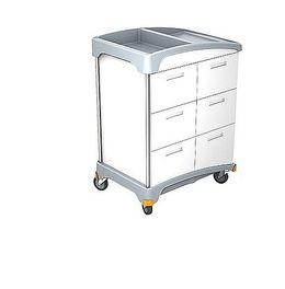 Splast trolley with plastic base and wooden housing with 6 drawers