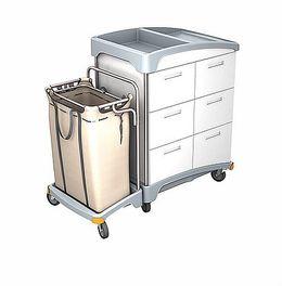Splast Hotelwagen aus Holz mit 6 Schubladen und Kunststoffbasis mit Leinenbeutel
