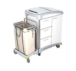 Splast wooden hotel trolley with 3 drawers, waste bag holder and linen bag 120l