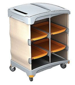 Splast plastic cleaning trolley with 4 trays and plastic cover