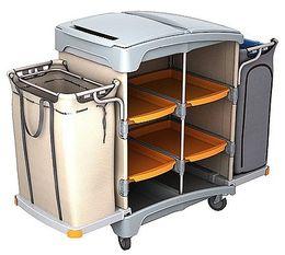 Splast Plastik Hotelreinigungswagen mit Abfallsackhalter, Leinenbeutel und Regal