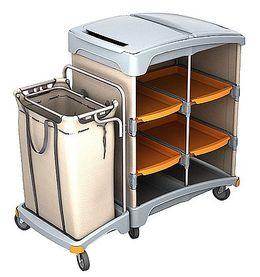 Splast Hotelwagen aus Kunststoff mit Regal und Leinensack 120l - Deckel optional – Bild 1