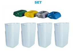 SET Waste separation '' Hidden '' - 4x Marplast MP742 Waste bin 23L White + 4x lid