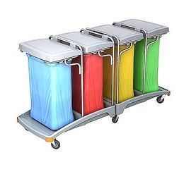 Splast mobile quadruple plastic waste trolley 4 x 120l - lids are included