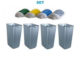 SET waste separation ''Swing'' 4x marplast MP742 waste bin 23l satin + 4x lids by Marplast