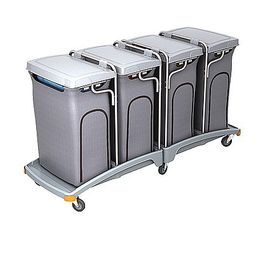 Splast quadruple plastic waste trolley 4x 120l with covering - lid is optional – Bild 1