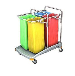 Splast plastic waste trolley with bag holders 4x 70l - lid is optional – Bild 1