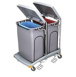 Splast double plastic waste trolley with pedal and lid - covering optional – Bild 2