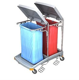 Splast double plastic waste trolley with pedal and lid - covering optional – Bild 1