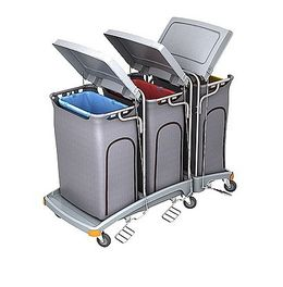 Splast waste trolley with 3x 120l bag holders and lids - side covering optional – Bild 2