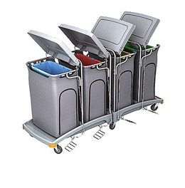 Splast big waste trolley 4x 120l with pedal and lids - covering optional – Bild 2