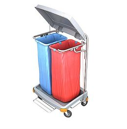 Splast double waste trolley 2x 70l with pedal and lid - side covering optional – Bild 1