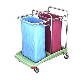 Splast antibacterial plastic waste trolley 2 trash bag holders - red, blue, green