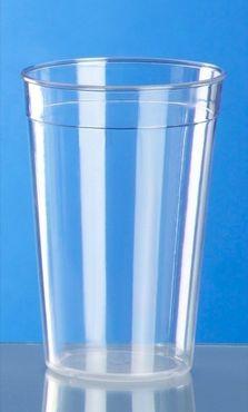 20 piece Plastic reusable-cup crystal clear 0,5l PC stackable – Bild 2