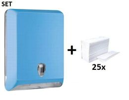 SET Marplast papertoweldispenser MP830 blue Colored Edition + papertowels – Bild 1