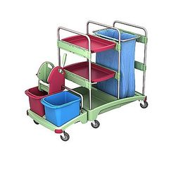 Splast antibacterial cleaning trolley with bag holder 120l, wringer, buckets, shelf