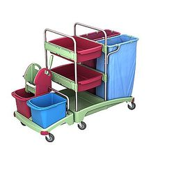 Splast cleaning trolley with 2 x 120l waste bag holders, wringer and shelf