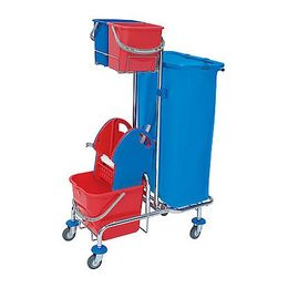 Splast chrome cleaning trolley with wringer, waste bag holder 120l and buckets – Bild 2