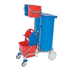 Splast chrome cleaning trolley with bag holder incl. lid 120l, wringer, buckets