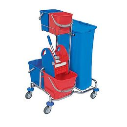 Splast chrome cleaning trolley with buckets, waste bag holder 120l and wringer – Bild 2