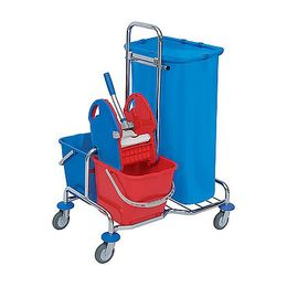 Splast chrome cleaning trolley with buckets, waste bag holder 120l and wringer – Bild 1