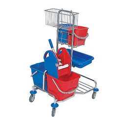 Splast chrome trolley with wringer, basket, tray and 4 plastic buckets - red, blue