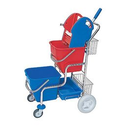 Splast chrome cleaning trolley with wringer, 2 baskets and 2 buckets each 20l