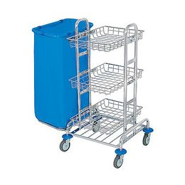 Splast chrome MIDI trolley with 3 baskets - waste bag holder is optional – Bild 2