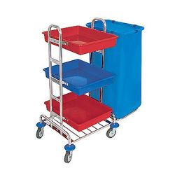 Splast chrome cleaning trolley with 3 plastic trays red/blue - bag holder optional – Bild 2