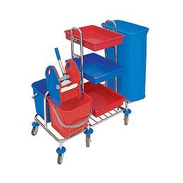 Splast chrome trolley with waste bag holder, plastic trays, buckets and wringer