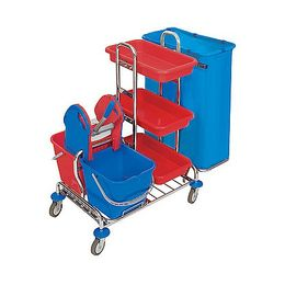 Splast chrome trolley with wringer and shelf - bag holder 1x 120l or 2x 120l – Bild 1