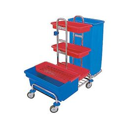 Splast chrome trolley with bag holder 120l, disinfection tub 40l and shelf