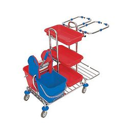 Splast cleaning trolley with trays, wringer, buckets and 2x 70l bag frames