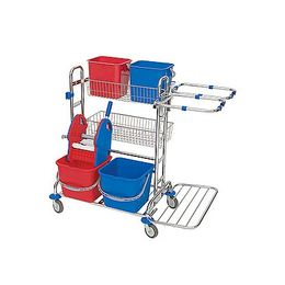 Splast chrome trolley with 4 buckets, 2 baskets, wringer and 2x 70l bag frames
