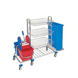 Splast chrome trolley with wringer, 2 buckets, bag holder and 3 baskets