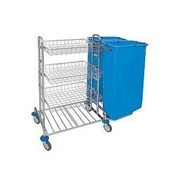 Splast chrome cleaning trolley with 3 metal baskets and 2x 120l bag holders right