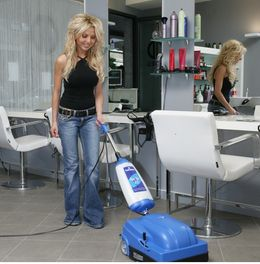 CIMEL Turbolava Facile 35 blue floor scrubber with 2 brushes and squeegee 640W – Bild 3