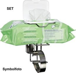 Cleaning set for rapid disinfection for babystations and in washrooms