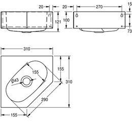 Franke Waschtisch WT310E zur Wand- und Eckmontage aus Chromnickelstahl – Bild 3