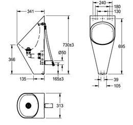 Franke Urinoir CMPX538 uit roestvrijstaal voor wandmontage met waterspoeling – Bild 3